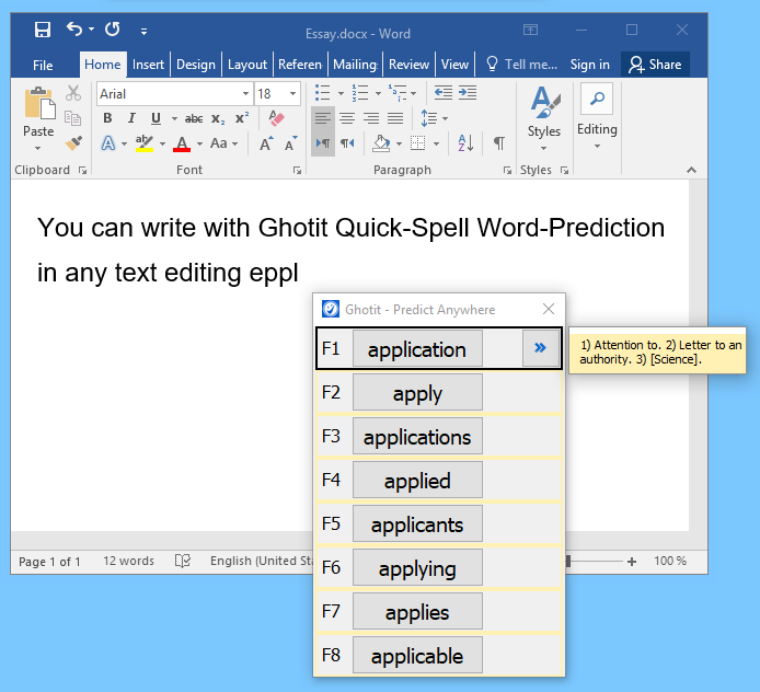 Ghotit Word Prediction in Word